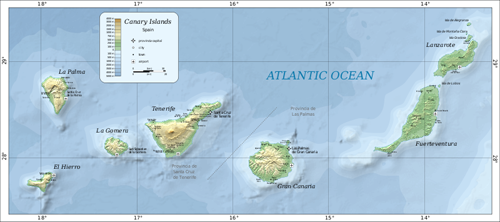 Carte des Iles Canaries