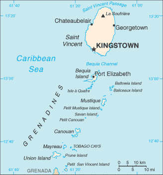 Carte de St-Vincent&les Grenadines