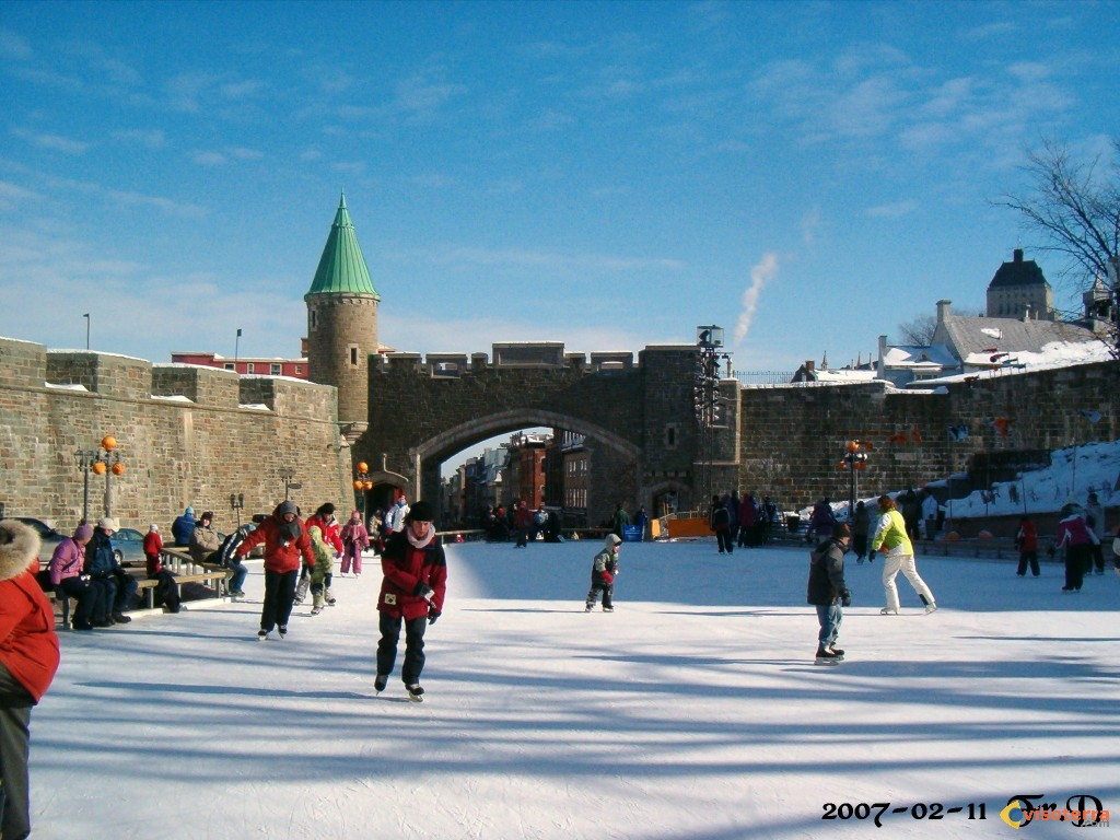 Photo patinoire de la place d 39 youville qu bec for Patinage exterieur quebec